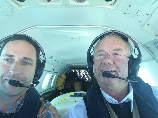 Mike and Warren selfie half way to Pago Pago